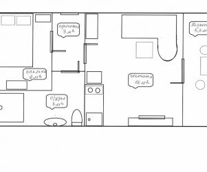 Двухкомнатные апартаменты с кухней в КК «Солнце и Море» № 60